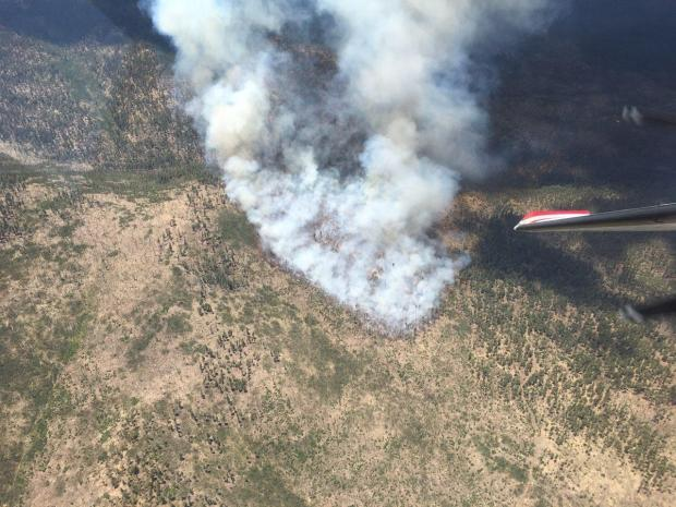 An aerial photo of smoke from the Horton Fire.
