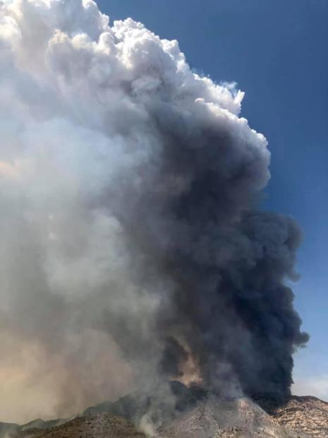Very active fire behavior creates large plume on smoke on the PInnacle Fire on June 17th