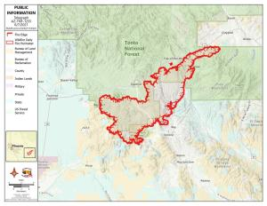 This is a topographic Map mostly in shades of green with the red line of uncontained fireline around the oerimeter of the active fire. there is a key to markings on the map to the left side of the image.
