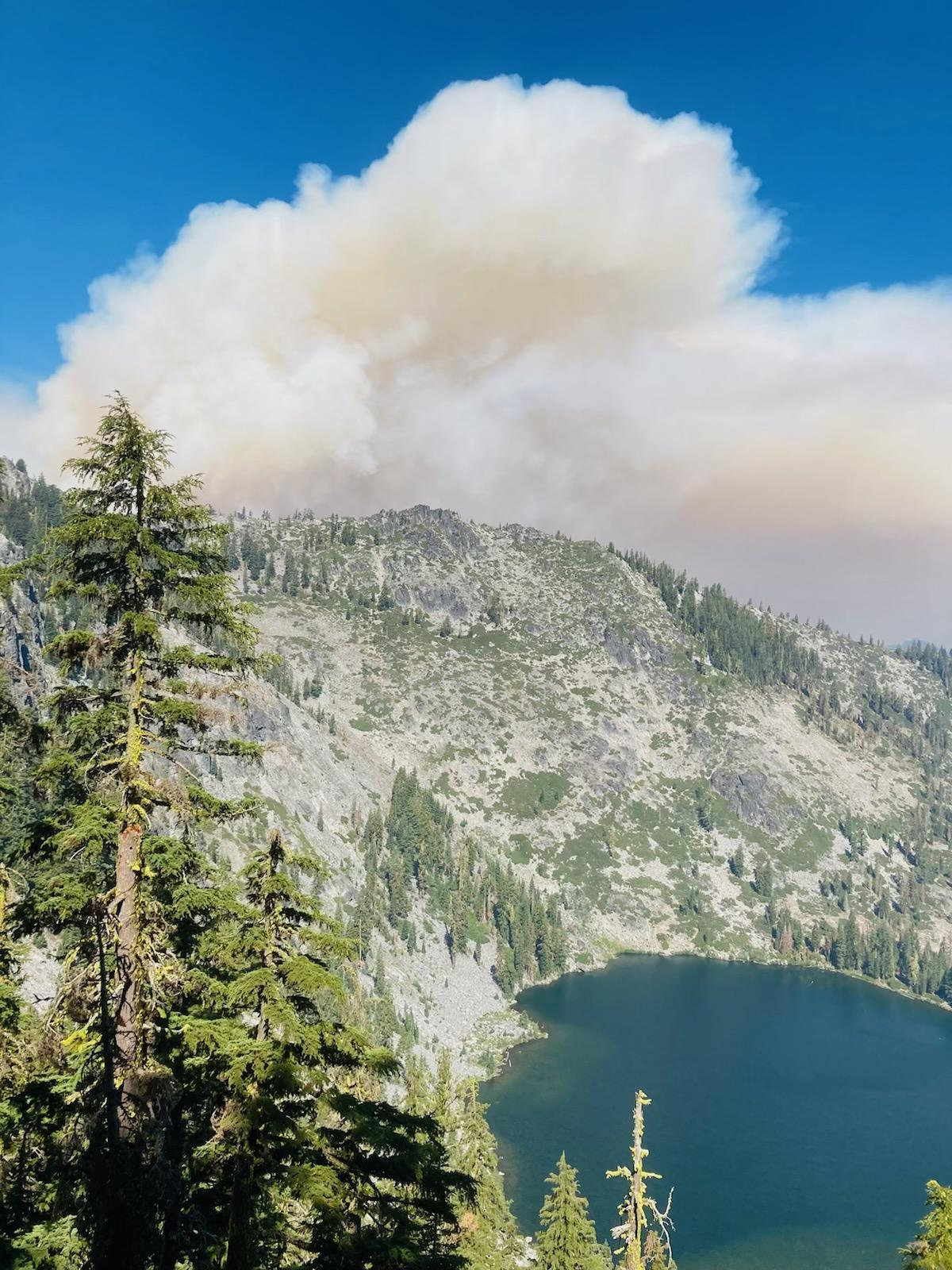 Haypress Fire as seen from Trail Gulch Lake