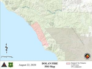 Map of the Dolan Fire for August 22