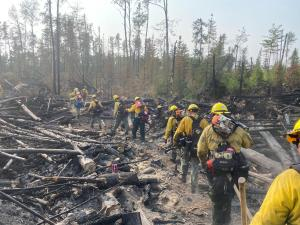Dense fuels make it challenging for crews to put in containment lines on the Delta Lake Fire