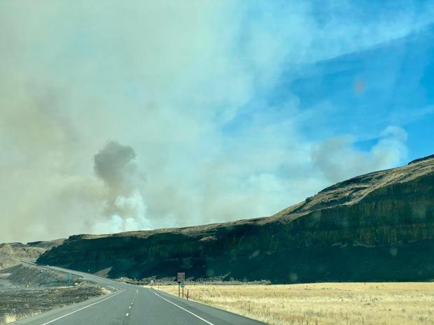 High winds on September 8th caused the Pearl Hill Fire to spread rapidly across grass and low shrub lands, closing many local highways.
