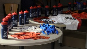 """Students were given free wellness goodies throughout Illini Wellness Week. On Wednesday, students received """"Illini on the move"""" water bottles."""