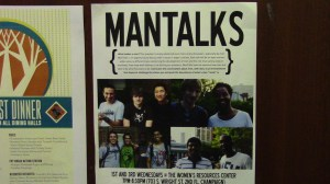 Poster advertising Man Talks hanging in the Women's Resources Center