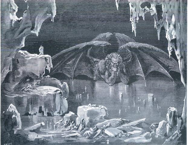 El infierno helado descrito por Dante y dibujado por Durero.