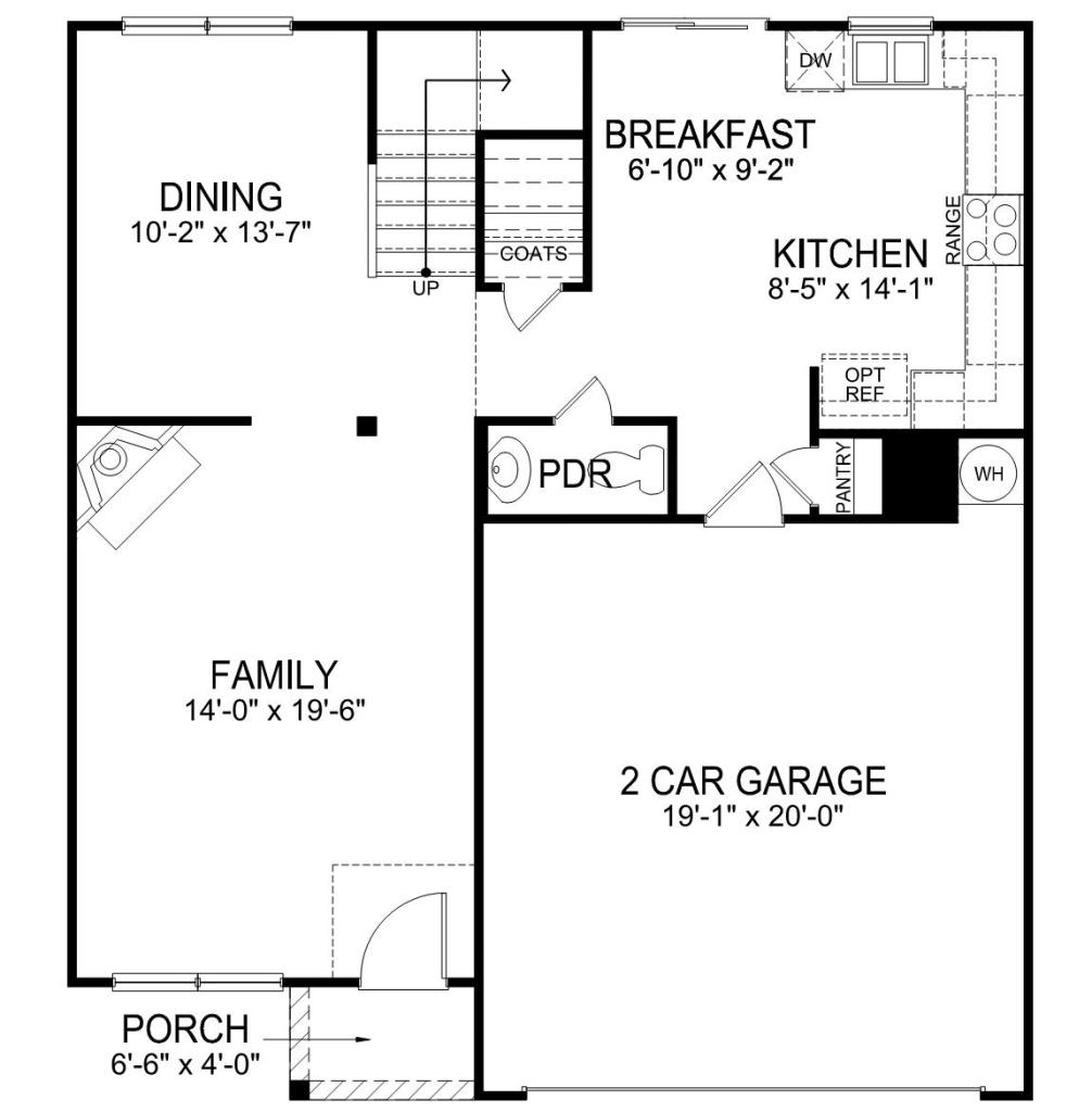first floor showing living room, dining room, kitchen and stairs