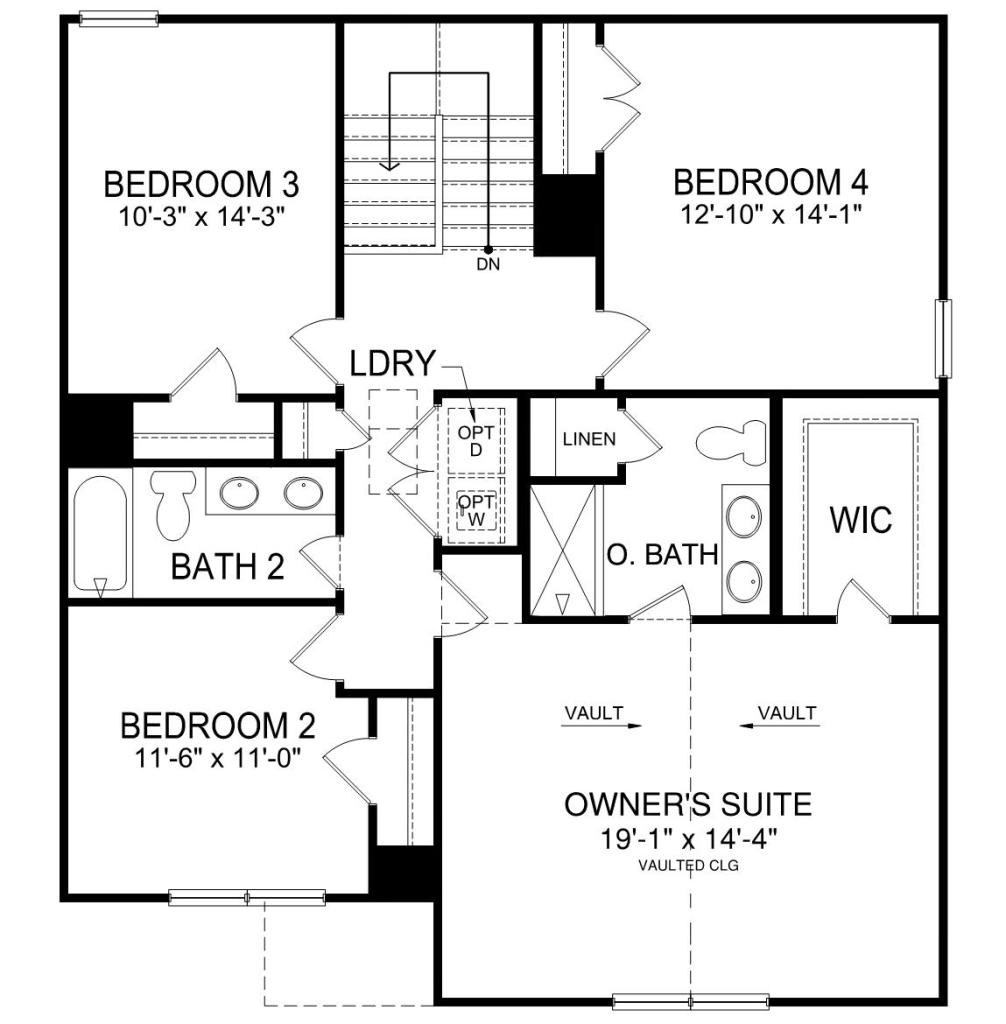 floor plan of the second floor with 4 bedrooms, laundry space and stairs