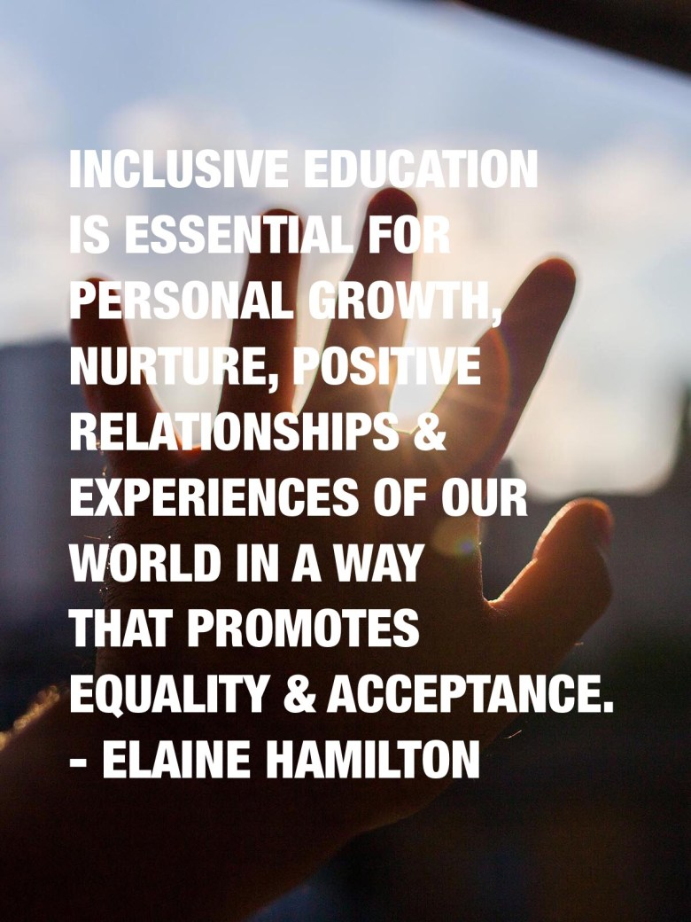 Inclusive education is essential for personal growth, nurture, positive relationships & experiences of our world in a way that promotes equality & acceptance. - Elaine Hamilton