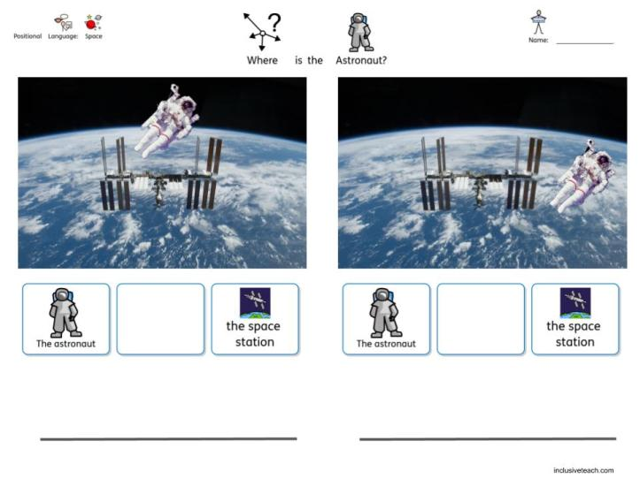 Astronaut space themed SEN worksheet