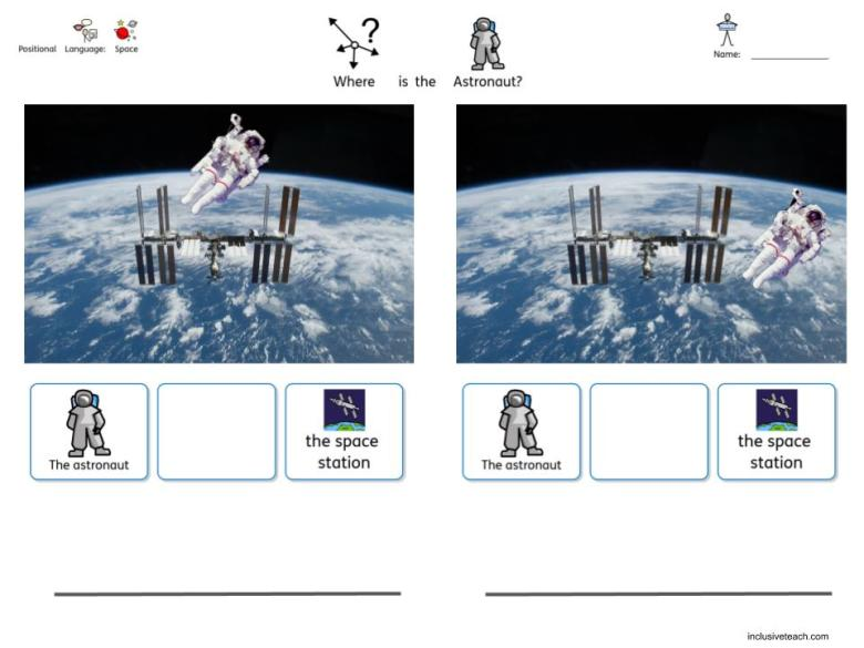 Astronaut space themed SEN worksheet