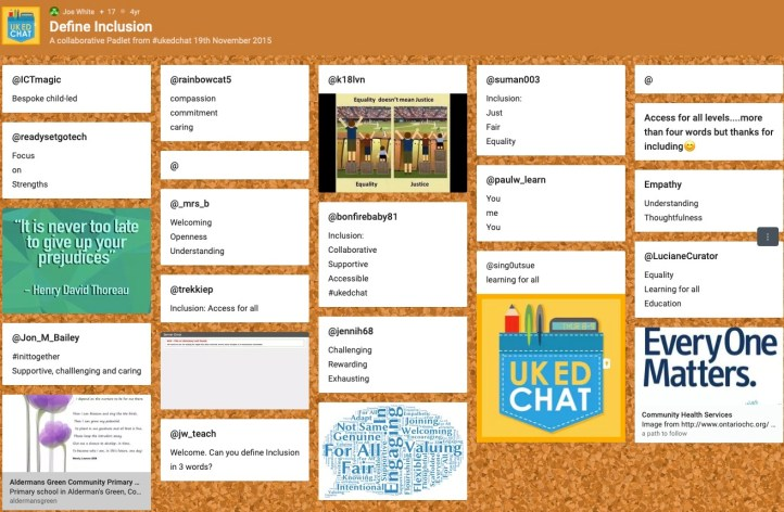 Padlet - Define Inclusion SEND education