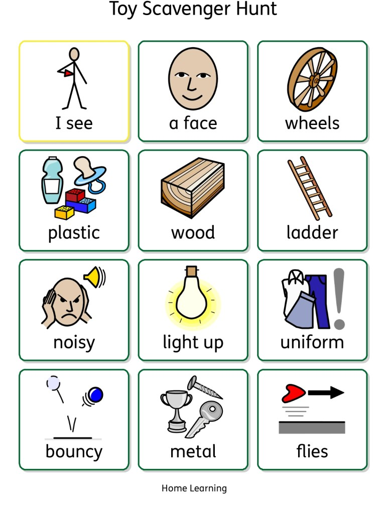 Toy scavenger hunt home learning worksheet symbol version