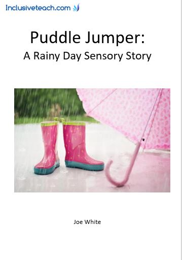 Rainy day sensory story jumping in puddles