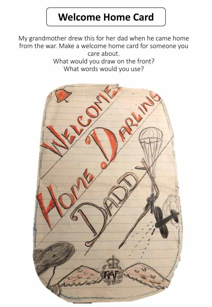 VE day historic welcome home card craft activity