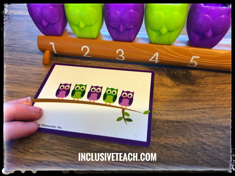 green and purple owl number line pattern.
