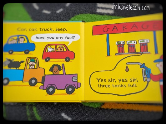 car, car, truck jeep transport book for young children 4 vehicles at a garage