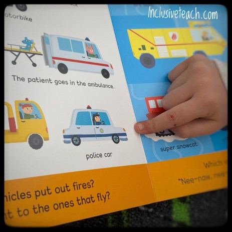 Different vehicles pointing in child's book. Drawn illustrations of emergency vehicles