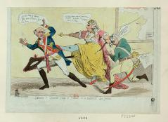 Catherine II of Russia kicks a French soldier in the butt in this satirical newspaper sketch from 1792