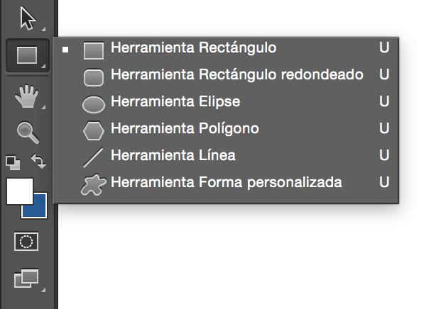Panel de herramienta de formas en Photoshop.