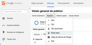 Exportando datos desde Google Analytics