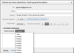 Enviando datos de Google Analytics por correo.