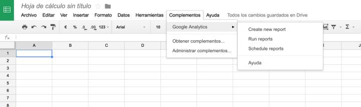 Menú con las opciones del complemento de Google Analytics.