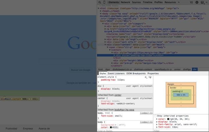 Panel de herramientas para ver los estilos CSS de los elementos.