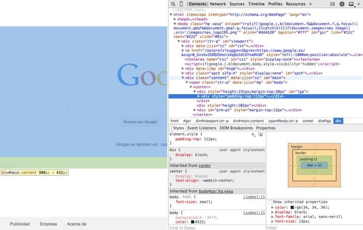 Panel de herramientas de desarrollador en Chrome.