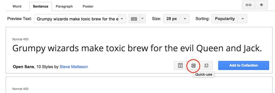 Eligiendo fuente en Google Fonts para su uso