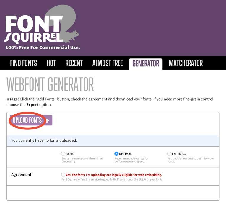 Botón para subir tu fuente y generar los archivos necesarios.
