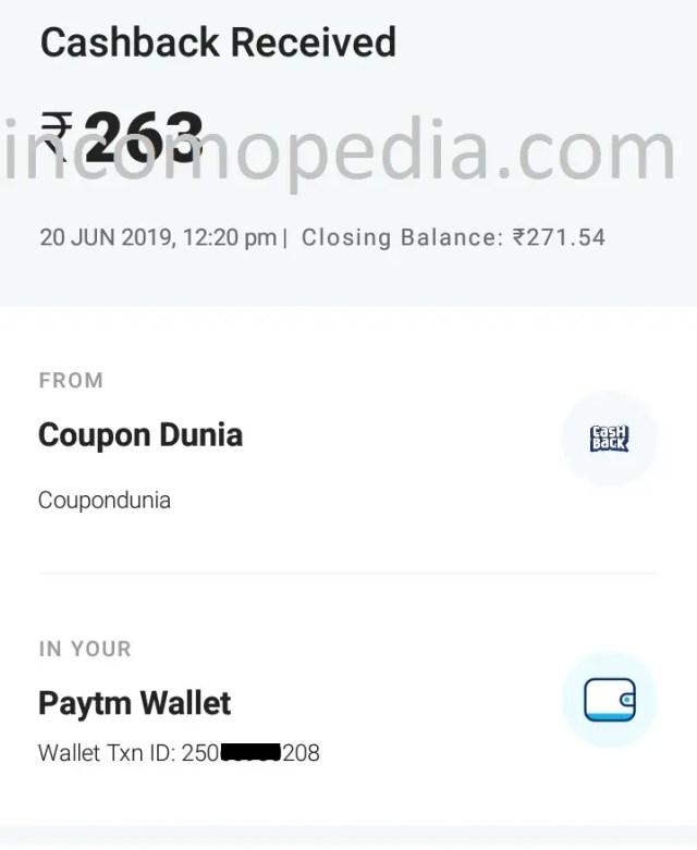coupondunia payment proof