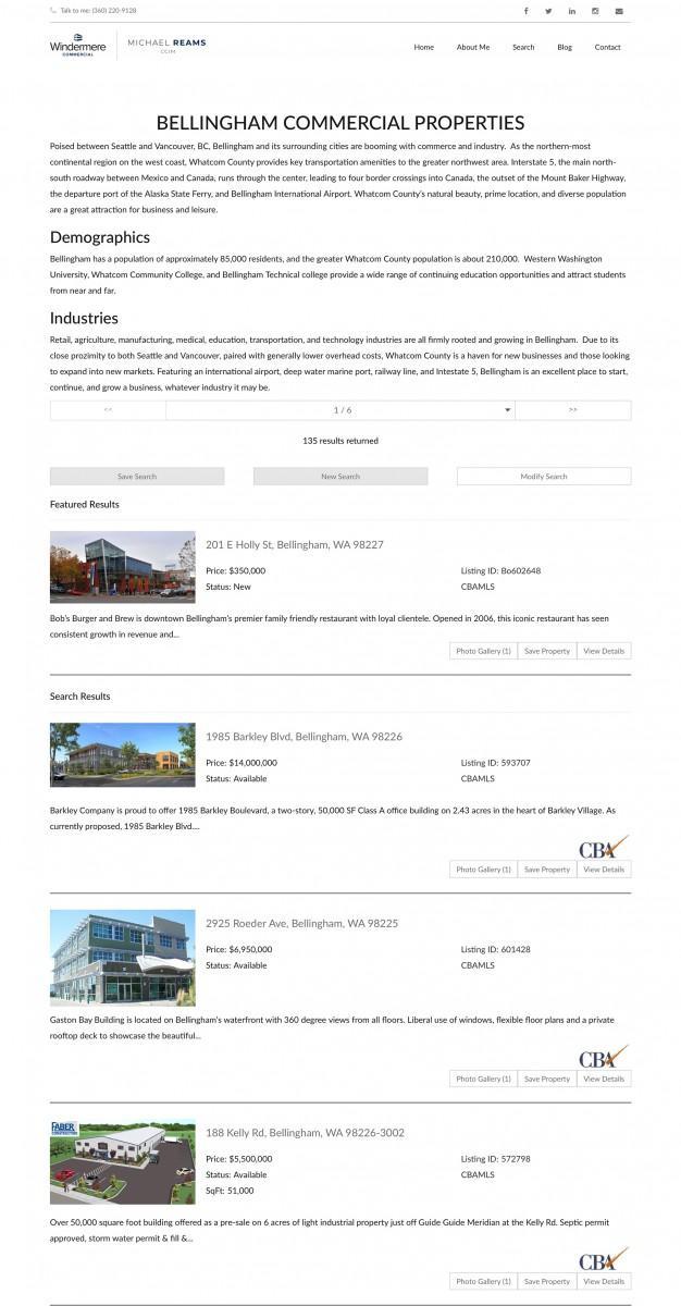 Bellingham Real Estate Website Desing and Development MLS Listing Page