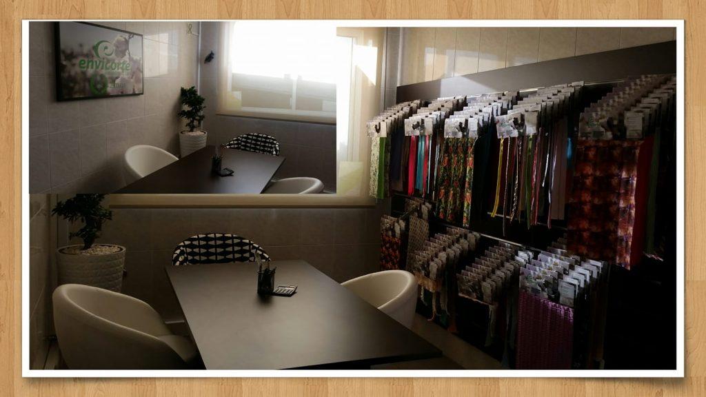 Showroom acessório para vestuário e têxtil lar da empresa Envicorte