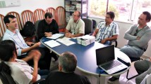 Superintendente Claudinei Chalito e o diretor de Desenvolvimento de Projetos de Assentamentos, César Aldrighi, em reunião com gestores do Incra em Santarém