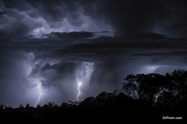 Mulitple Lightning creating silhouettes