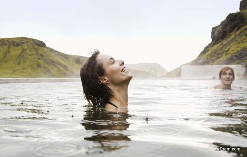 Couple in hot springs, Iceland