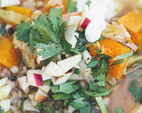 Pumpkin Stew With Cabbage and Herbs