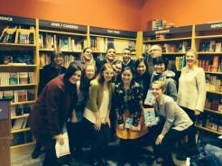 A group shot after the reading with most of the readers and some NYU students of Carley Moore's, who were all darlings and now love sestina.