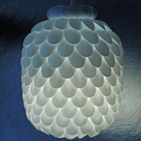 Creative ceiling lamp made by recycled plastic spoons