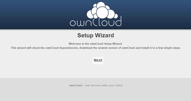 ownCloudのセットアップページ