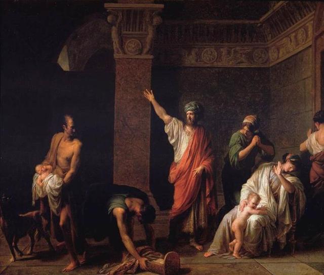 Astíages mandando Harpargo matar Ciro, o Grande