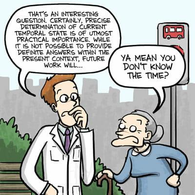 scientist speaking incomprehensible english