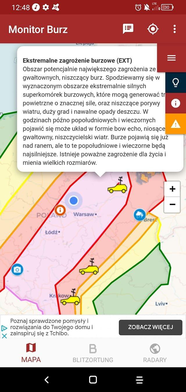 Monitor Burz - sprawdź gdzie jest burza