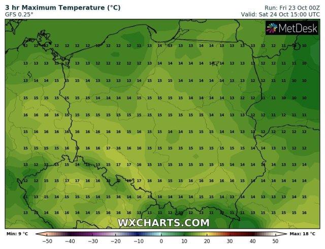 Prognozowana temperatura maksymalna w sobotę, 24.10.2020. Model: GFS