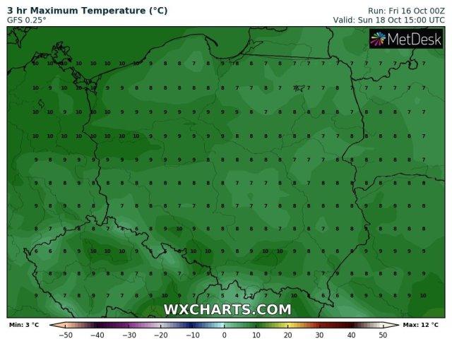 Prognozowana temperatura maksymalna na sobotę, 17.10.2020. Model: GFS