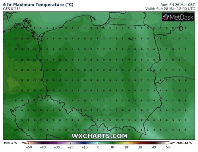 Prognozowana temperatura maksymalna w niedzielę, 28 marca 2021 r. Model: GFS