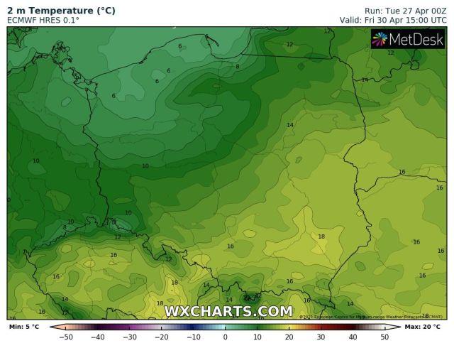 Prognozowana temperatura maksymalna w piątek, 30 kwietnia 2021 r. Model: ECMWF