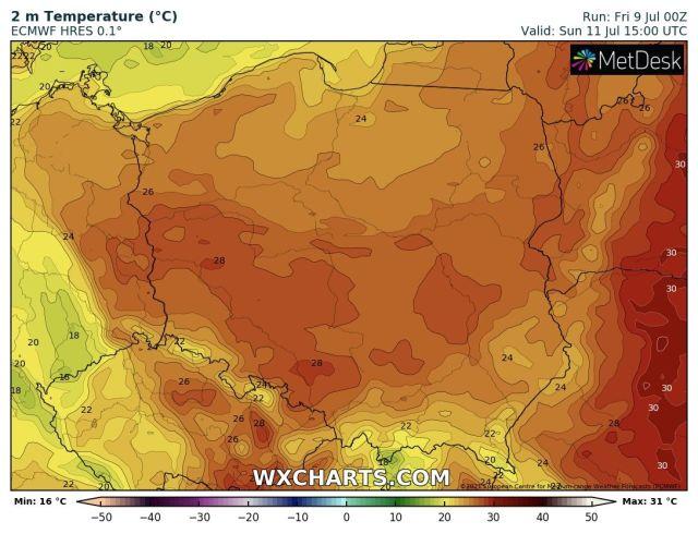 Prognozowana temperatura maksymalna w niedzielę, 11 lipca 2021 r. Model: ECMWF