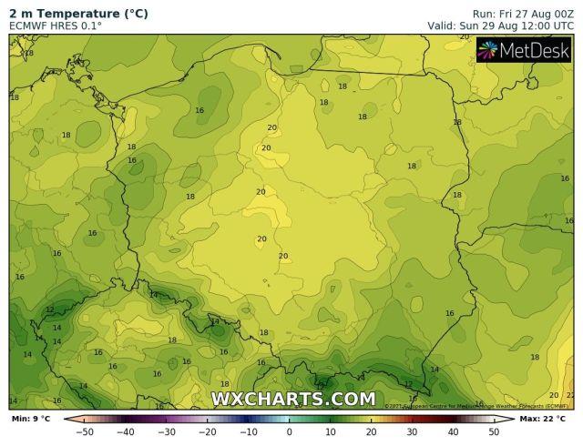 Prognozowana temperatura maksymalna w niedzielę, 29 sierpnia 2021 r. Model: ECMWF